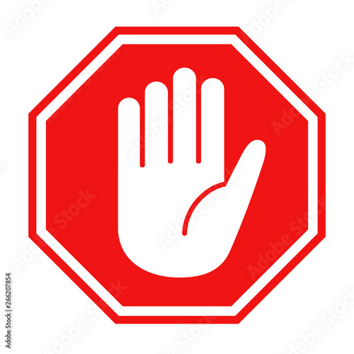 Fotomural  Red stop sign with big hand symbol icon vector illustration