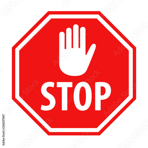 Obraz Red stop sign with white hand symbol icon vector illustration - fototapety do salonu