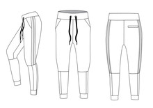 Vector Illustration Of Joggers. Men's Sporty Trousers Vector