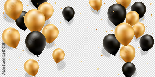 Fotografia, Obraz Gold and Black Balloons with confetti on a transparent background