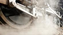 Old Industrial Nostalgic Vintage Locomotive With Steam Engine Technology