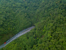 Beautiful Aerial View Of The Zurqui Tunnel Road To The Braulio Carrillo National Park