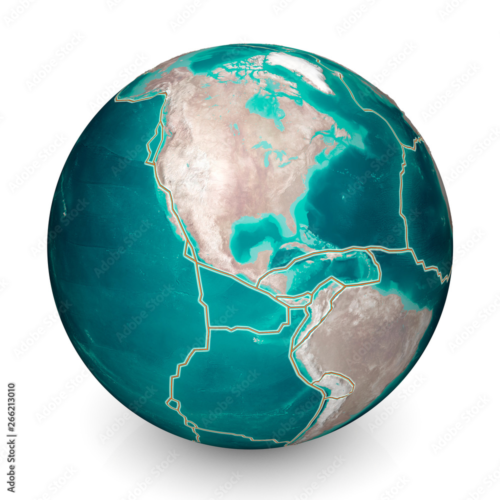 Fototapety, obrazy: Tectonic plates move constantly, making new areas of ocean floor, building mountains, causing earthquakes, and creating volcanoes. 3d rendering. Map. Element of this image are furnished by Nasa