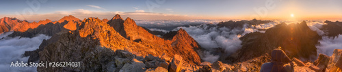 Obraz Mountains Landscape with Inversion in the Valley at Sunset as seen From Rysy Peak in High Tatras, Slovakia - fototapety do salonu