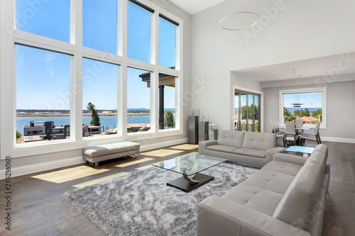Beautiful modern living room in new luxury home with floor ...