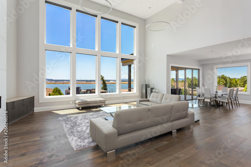 Beautiful Modern Living Room In New Luxury Home With Floor