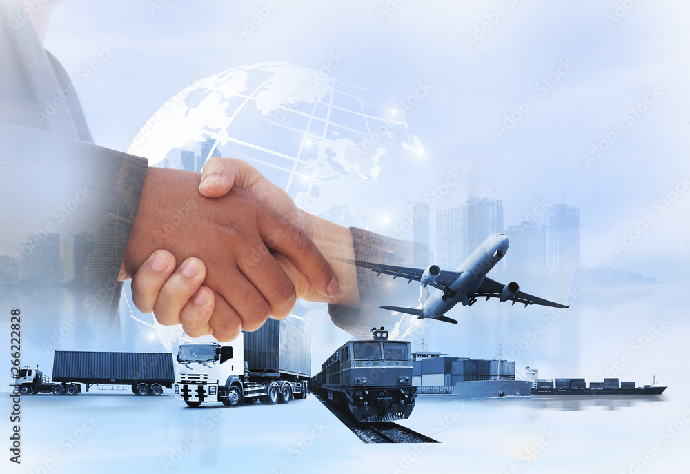 Fototapeta Double exposure of man with world map for logistic network distribution on background and Logistics Industrial Container Cargo freight ship for shipping and Transportation, import-export