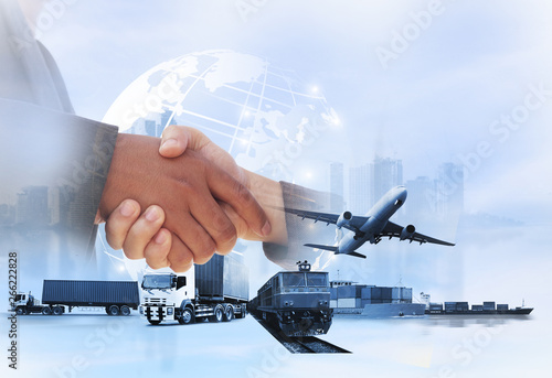 Fototapety, obrazy: Double exposure of man with world map for logistic network distribution on background and Logistics Industrial Container Cargo freight ship for shipping and Transportation, import-export