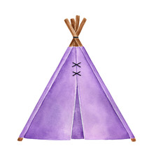 Watercolor Illustration Of Little Fabric Teepee Tent. Beautiful Purple Color, Wooden Sticks. Hand Drawn Watercolour Sketchy Drawing On White Background, Cutout Clipart Element For Design Decoration.