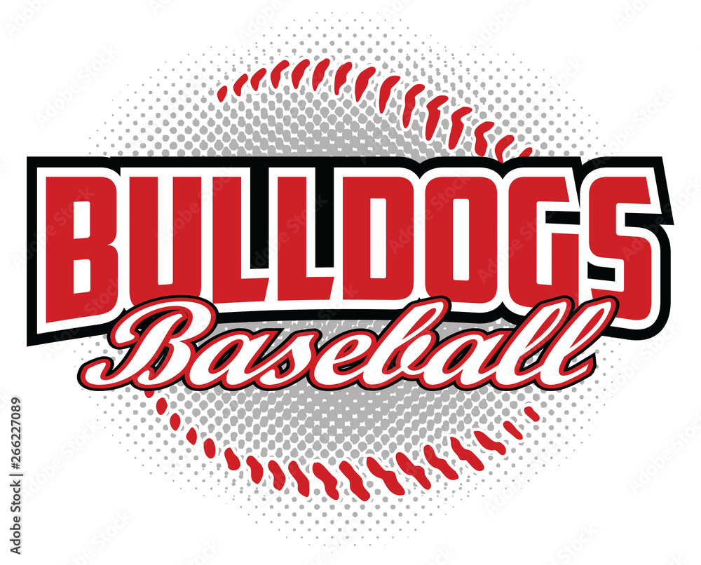 Fototapeta Bulldogs Baseball Design is a bulldogs mascot design template that includes team text and a stylized softball graphic in the background. Great for team or school t-shirts, promotions and advertising.