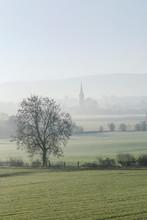 British Countryside In Morning Fog