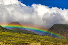 Brilliant Rainbow Over The West Maui Mountains.