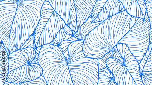 Foliage seamless pattern, Philodendron gloriosum leaves line art ink drawing in blue and white
