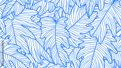 Foliage seamless pattern, Philodendron bipinnatifidum leaves line art ink drawing in blue and white