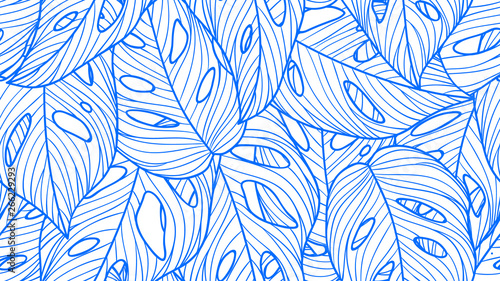 Foliage seamless pattern, Monstera deliciosa leaves line art ink drawing in blue and white