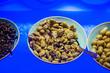 Leinwanddruck Bild - plate of pitted olives, pork smoked olives
