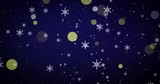 Golden, snowflakes and bokeh lights on the blue Merry Christmas background. 3D render - 266235850