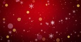 Golden, snowflakes and bokeh lights on the red Christmas background. 3D render - 266235871