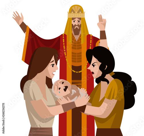 Obraz na płótnie solomon king and two women dispute about a child