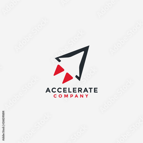 Photo abstract  minimalist accelerate rocket logo icon vector template with negative s