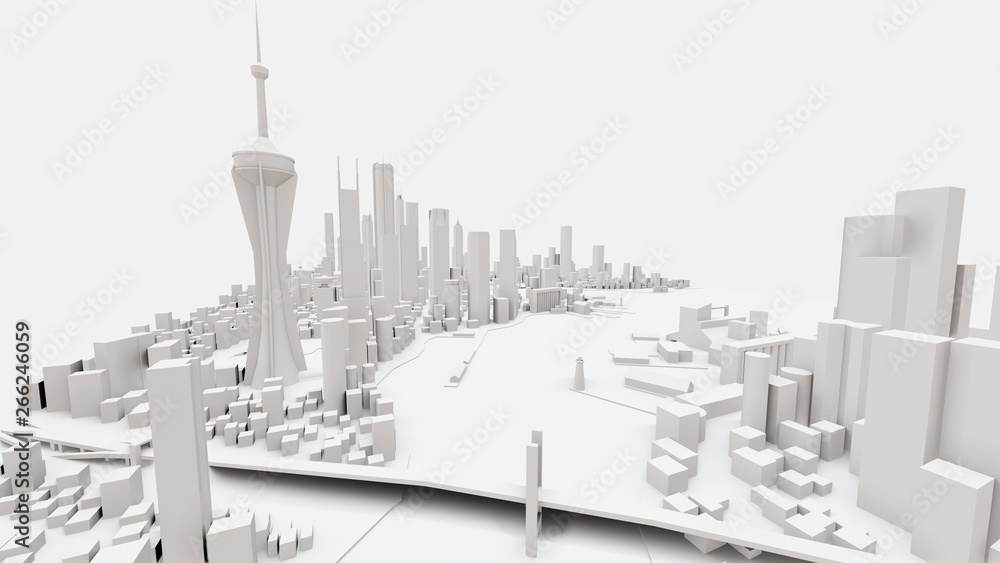 Fototapety, obrazy: Three-dimensional landscape of the modern city. The huge layout of the metropolis. 3D rendering.