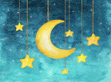 Yellow Moon And Stars Hanging From Strings Painted In Watercolor, Night Sky Background. Watercolor Hand Drawn Illustration.
