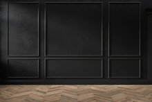 Modern Classic Black Color Empty Interior With Wall Panels, Mouldings And Wooden Floor. 3d Render Illustration Mock Up.