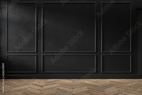 Obraz Modern classic black color empty interior with wall panels, mouldings and wooden floor. 3d render illustration mock up. - fototapety do salonu