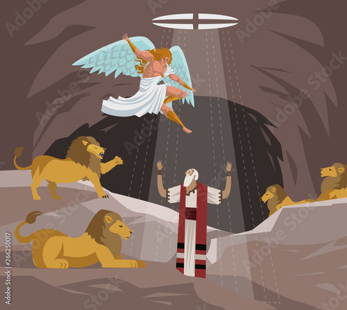 daniel in the lions den pit saved by god old testament tale Fotomurales