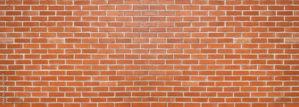 Fototapety, obrazy: Red color brick wall for brickwork background design . Panorama format .