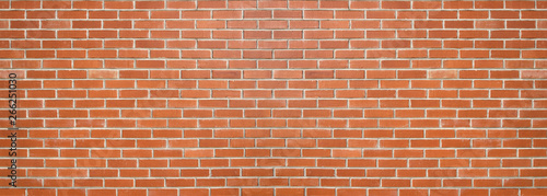 Door stickers Wall Red color brick wall for brickwork background design . Panorama format .