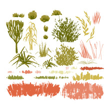 Graphic Collection Of Abstract Stainy Plants On White Background