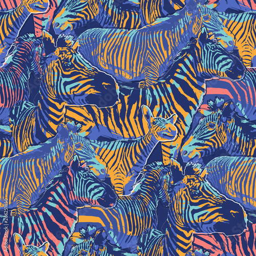 Graphic seamless repeated pattern of standing zebras Wall mural
