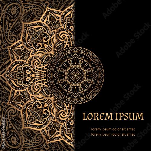 Fototapeta Luxury Background Vector Islamic Paisley Mandala Royal Pattern Card Template Ethnic Design For Ramadan Christmas Party New Year