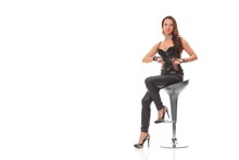 Young Sexy Girl In Black Leather Jumpsuit