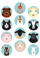 Livestock Faces Set