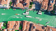 Leinwanddruck Bild - Venice city Grand Canal aerial drone view, Venice island cityscape and Venetian lagoon from above, Italy