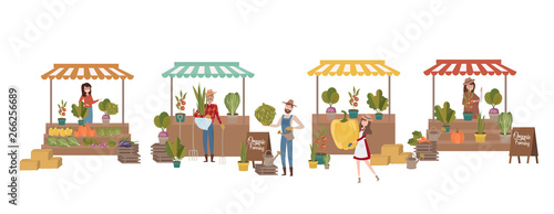 Cuadros en Lienzo Farmer's market poster with people selling and shopping at walking street, organic fruits and vegetables, cartoon flat design