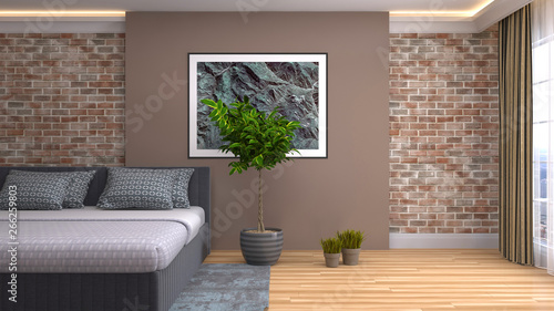 Poster de jardin Individuel Bedroom interior. 3d illustration