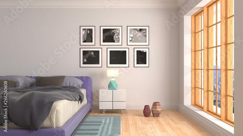 fototapeta na szkło Bedroom interior. 3d illustration