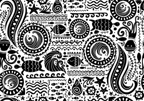 Fotomurales - Polynesian style marine background, tribal seamless pattern for your design