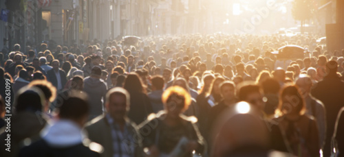 Blurred crowd of unrecognizable at the street - 266263099