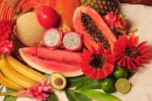 Still Life Of Tropical Fruits Such As Watermelon, Papaya, Avocado, Banana, Mamey, Zapote, Melon, Pineapple, Lemon, Pitaya