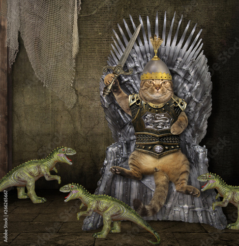 The cat king with a sword is sitting on the iron throne inside the castle Wallpaper Mural