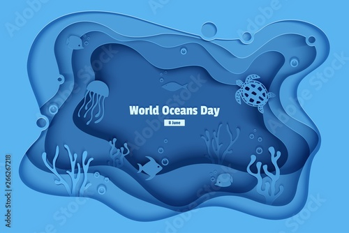 Fototapeta World Oceans Day 8 June. Paper craft underwater sea cave with fishes, coral reef, seabed in algae, waves. Diving concept, deep blue marine life. Vector sea wildlife. obraz