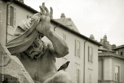 Photo particolare della fontana dei fiumu di bernini
