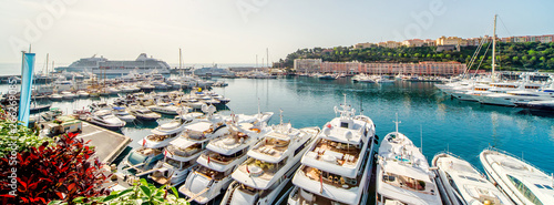Panoramic view of port in Monaco, luxury yachts in a row Fototapeta