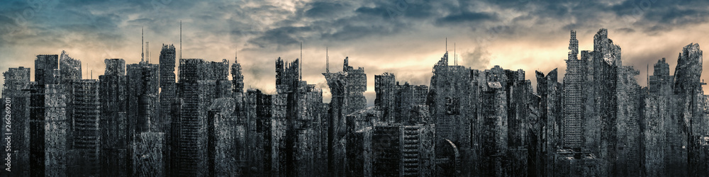 Fototapety, obrazy: Science fiction city dystopia panorama / 3D illustration of futuristic post apocalyptic sci-fi city ruins under bright sky