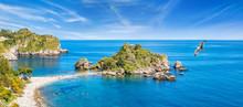 Panoramic View Of Isola Bella Small Island Near Taormina, Sicily, Italy