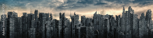 Photo Science fiction city dystopia panorama / 3D illustration of futuristic post apoc